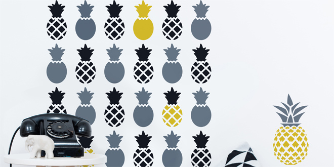 pochoir d corartif ananas 15x40 cm 3 ananas dtm. Black Bedroom Furniture Sets. Home Design Ideas
